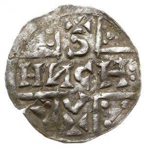 denar 1018-1024, Aw: Dach kościoła, Rw: Napis HEINRICVS...