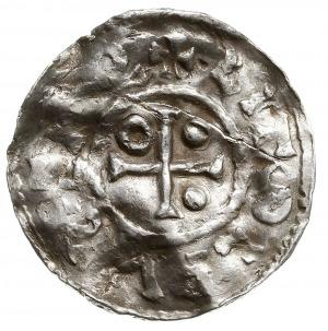 denar 989-995, Aw: Dach kościoła, Rw: Krzyż z kulkami i...