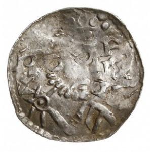 denar 1009-1024, Aw: Popiersie w prawo, Rw: Krzyż z kul...