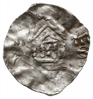 denar 1005-1024, Aw: Krzyż z kulkami w kątach, Rw: Kapl...