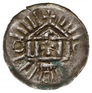 denar krzyżowy ze świątynią, typ I, Aw: Świątynia o pod...