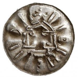denar krzyżowy ze świątynią, typ I, Aw: Ślad świątyni o...