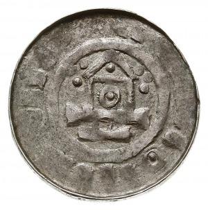 denar krzyżowy z kaplicą, typ II, Aw: Kaplica z kółkiem...