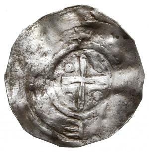 denar, przed rokiem 1025, Aw: Szczyt świątyni, w otoku ...