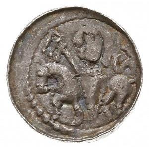 denar książęcy z lat 1070-1076, Aw: Głowa w lewo w obwó...