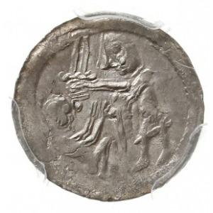 denar 1138-1146, Aw: Rycerz z mieczem nad jeńcem, Rw: O...