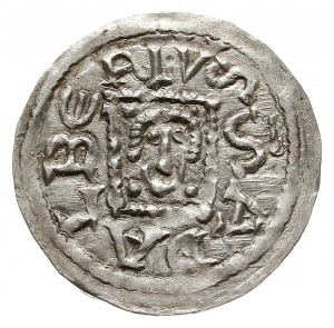 denar z lat 1146-1157, Aw: Książę z mieczem trzymanym p...