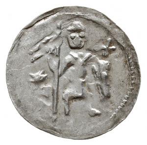 denar z lat 1146-1157, Aw: Dwaj książęta siedzący wspól...