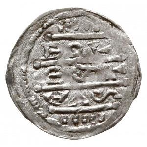 denar z lat 1157-1166, Aw: Cesarz siedzący na tronie na...
