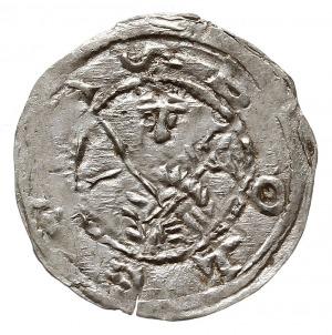 denar z lat 1157-1166, Aw: Popiersie z mieczen na wpros...