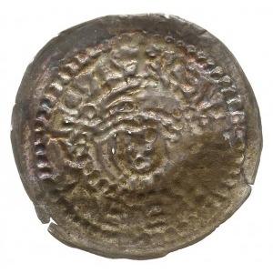 Gniezno, denar jednostronny do 1239; Popiersie z bujną ...