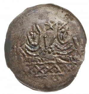 denar jednostronny, połowa XIII w., Dwie postacie (dwaj...