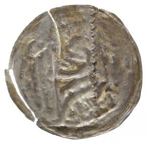 brakteat 1194-1227?, Książę z proporcem na tronie, Str....