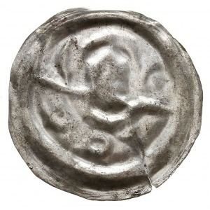 brakteat 1201-1241, Wrocław, Głowa św. Jana na wprost, ...