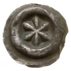 brakteat guziczkowy, początek XIV w, Rozeta sześciolist...