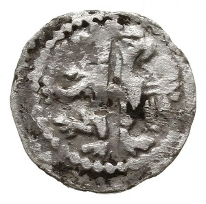 denar ok. 1320 r., Aw: Korona lekko rozchylona i napis ...