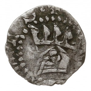 denar ok. 1325-1333, Aw: Hełm rycerski z pióropuszem, R...