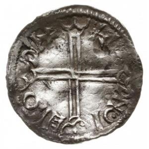 denar naśladujący typ long cross Aethelreda II, Aw: Pop...