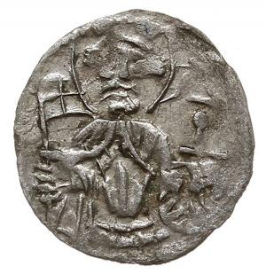 halerz z lat 1475-1490, Aw: Dwupolowa tarcza herbowa, w...