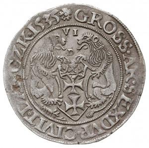 szóstak 1535, Gdańsk, Aw: Głowa króla w prawo, w koroni...