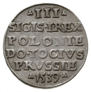 trojak 1539, Elbląg, odmiana z napisem ELBIN, Iger E.39...