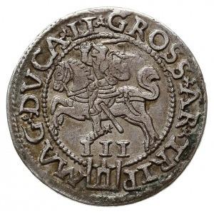 trojak 1562, Wilno, odmiana z monogramem na awersie i P...