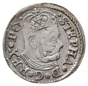 trojak 1580, Olkusz, na awersie duża głowa króla oraz n...