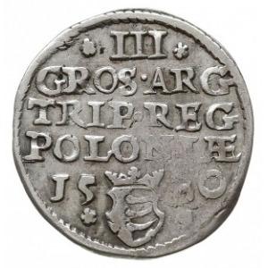 trojak 1580, Olkusz, Aw: Popiersie króla w prawo i napi...