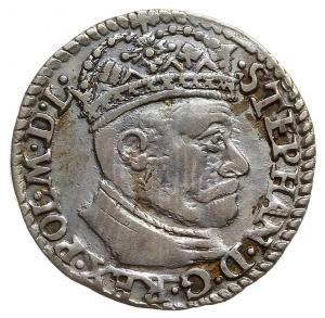 trojak 1581, Olkusz, odmiana z dużą głowa króla, na rew...
