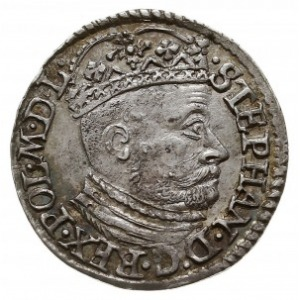 trojak 1582, Olkusz, na awersie duża głowa króla, Iger ...