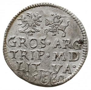 trojak 1580, Wilno, nominał III w owalnej obwódce pod p...
