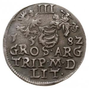 trojak 1582, Wilno, odmiana z herbem Leliwa pod popiers...