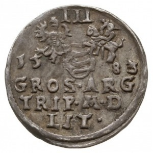 trojak 1583/2, Wilno, Aw: Popiersie króla w prawo, poni...