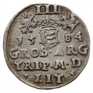 trojak 1584, Wilno, odmiana z listkami po bokach napisu...