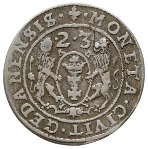 ort 1623, Gdańsk, skrócona data nad herbem miasta, ciek...