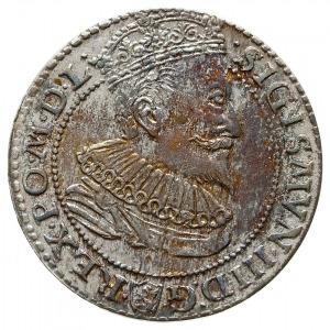 szóstak 1596, Malbork, mała głowa króla, kolorowa patyn...