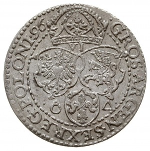 szóstak 1596, Malbork, odmiana z małą głową króla, pięk...