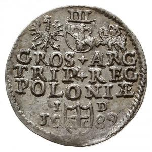trojak 1589, Olkusz, na awersie napis kończy znak menni...