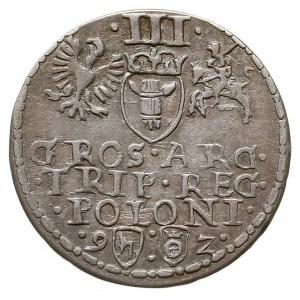 trojak 1592, Olkusz, na rewersie znak Topór - (zarządcy...