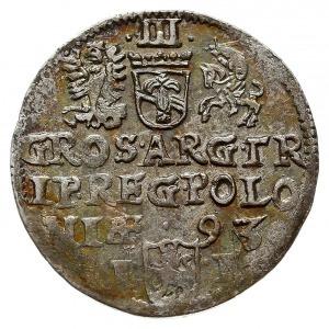 trojak 1593, Olkusz, Iger O.93.2.g  (R3), rzadka moneta...