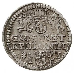 trojak 1593, Olkusz, Iger O.93.6.a (R3), rzadki typ mon...
