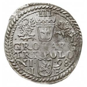 trojak 1598, Olkusz, odmiana z dwiema rozetkami pod pop...