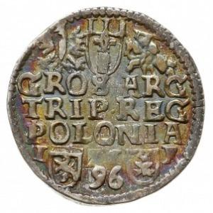 trojak 1596, Poznań, z datą na awersie i rewersie Iger ...
