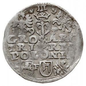 trojak 1595 Lublin, odmiana ze znakiem Topór i skróconą...