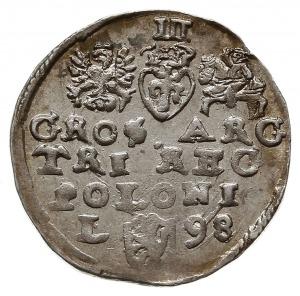 trojak 1598, Lublin, litera L z lewej strony herbu Lewa...