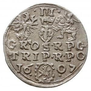 trojak 1607, Kraków, Aw: Popiersie króla w prawo i napi...