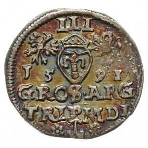 trojak 1591, Wilno, rozety po bokach herbu Chalecki, Ig...