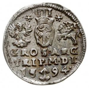 trojak 1594, Wilno, nienotowana odmiana rewersu - rozet...