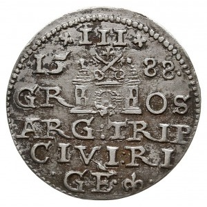 trojak 1588, Ryga, odmiana z większą głową króla, Iger ...