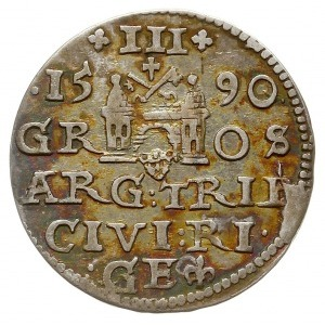 trojak 1590, Ryga, Iger R.90.2.b (R2), rzadki typ moety...